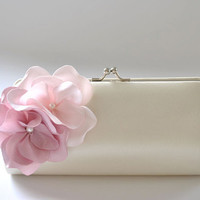 Ivory - Dusty Rose and Pale pink / Small Bridal - Bridesmaid clutch / Prom clutch / Cocktail Clutch / Evening Clutch