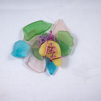 Wire Wrapped Faux Sea Glass - Pink Wire Flower