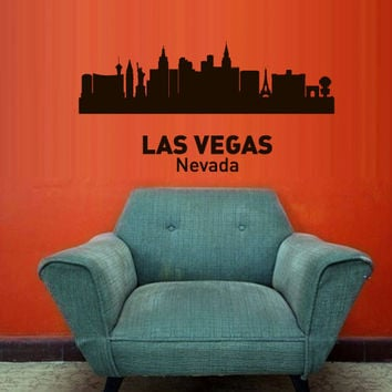 Wall Vinyl Sticker Decals Decor Art Bedroom Design Mural Words Sign Town City Skyline Las Vegas Nevada (z3042)