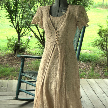 1990s Vintage Dress/Retro 1940s Slip dress/ 1990s Does the 1940s Lace Slip Dress Made In the USA