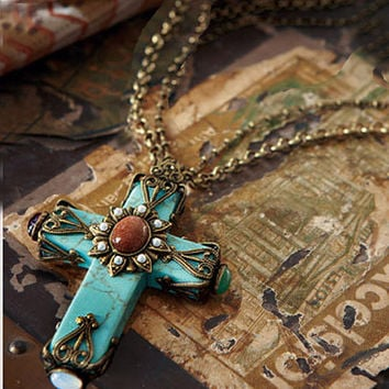 Turquoise Cross Necklace, Cathedral Cross Necklace, Cross Pendant, Turquoise Jewelry, Faith Necklace, Religious Jewelry, Cross Jewelry N190