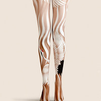 "Women's Fashion ""The Flying Crane"" Printed Pattern High Waist Tights Pantyhose VK0038 by Fashnin.com"