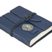 Navy Blue Leather Journal with Cameo - Ready to ship