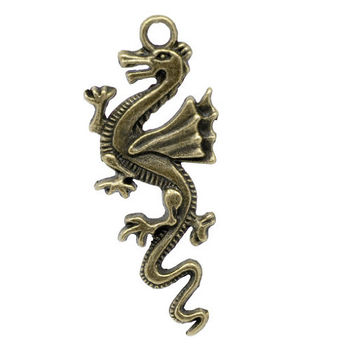 2 Bronze Winged Dragon Charm Pendants Fantasy Medieval Camelot Large Charms 103A