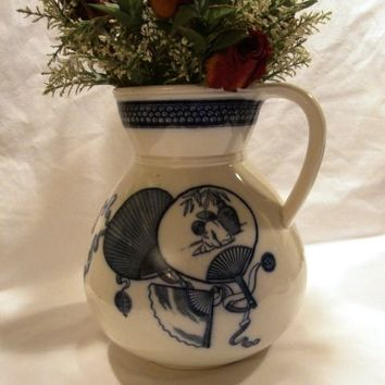 """Awesome 10"""" English Porcelain Water Pitcher ~ Cobalt transfers of Japanese Fans & Prunus flowers ~ ' Livonia' Pattern ~ Brown Westhead & Moore & Co Staffordshire England 1862 - 1904"""