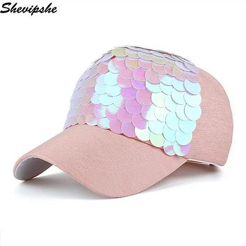 Shevipshe Women Baseball Cap Bling Fish Scales Sequins Hip Hop Cap Vintage Snap Back Design Cap Casual Snapback Hat Casquette