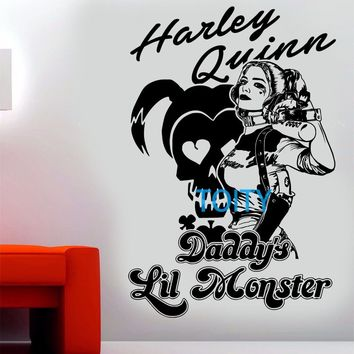 Harley Quinn Wall Decal Suicide Squad Vinyl Sticker Daddys lil monster Movie poster Art Decor Mural H87cm x W58cm