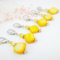 Freesia yellow Swarovski crystals removable stitch markers knitting | LittleApples - Knitting on ArtFire