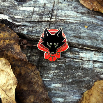 Red Wolf enamel pin