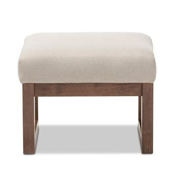 Baxton Studio Yashiya Mid-century Retro Modern Light Beige Fabric Upholstered Ottoman Stool Set of 1