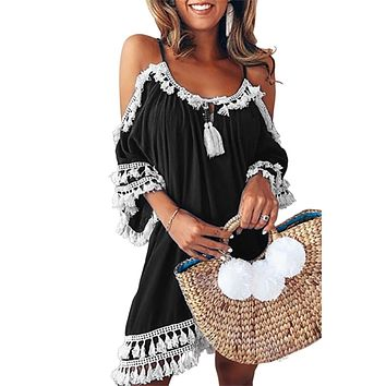 Black Boho Tassel Tunic Beach Cover up