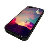 Apple iPhone 5C 5 C Case Cover Mystic Skyline Rainbow Moon Stars DESIGN BLACK RUBBER SILICONE Teen Gift Vintage Hipster Fashion Design Art Print Cell Phone Accessories
