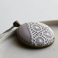 Light Gray Jewelry, Ash Gray Necklace, Beige Neutral Winter Fashion, Gray and White Jewelry, Winter Gray Lace Necklace Victorian Jewelry
