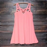 cage flowy dress in coral