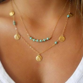 DCCKIX3 Simple Silver & Gold Bohemian Charm Necklace For Women Coin Bead Chain MultiLayer Fashion Bohemian Turquoise Necklace Pendant = 1928411780