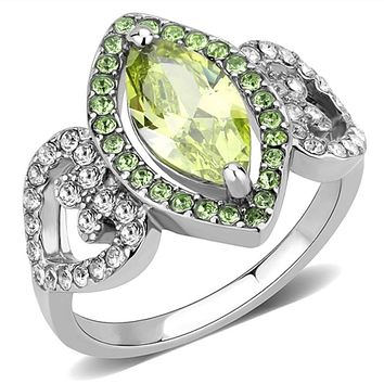 WildKlass Stainless Steel Ring No Plating Women AAA Grade CZ Apple Green Color