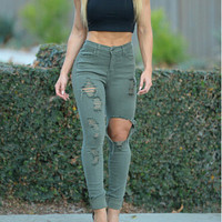 High Waist  Stretchy Vintage Ripped Denim Jeans