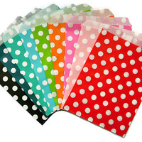 25 Paper Bags in Polka Dots. Choose from 9 Colors.  Great as Treat Bags, Favor Bags, Party Bags.