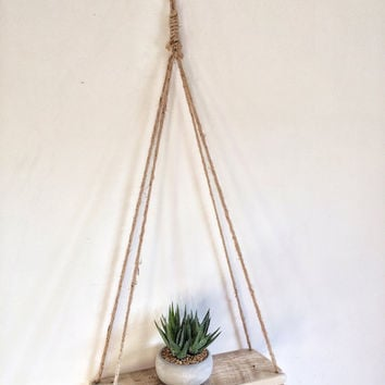 Floating Jute String Rope shelf Reclaimed Hanging Pallet Wood Swing rustic vintage retro walnut oak heavy creative art driftwood