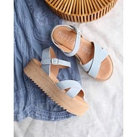musse & cloud - isabel sporty strappy platform sandal in suede blue sky