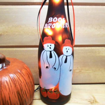 Boos Brothers Lighted Wine Bottle Halloween Pumpkins Hand Painted 750 ml