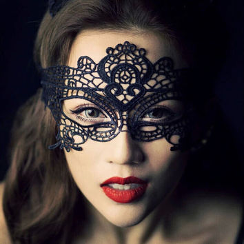 1PCS  Black Women Sexy Lace Eye Mask Party Masks For Masquerade Halloween Venetian Costumes Carnival Mask For Anonymous Mardi