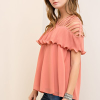 Strappy Top with Ruffle - Salmon