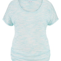 Plus Size - Lightweight Hacci Tunic Tee - Cool Aqua