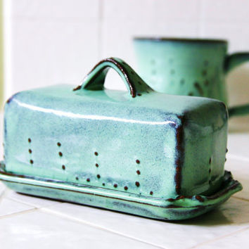 Covered Butter Dish - Aqua Turquoise Mist - French Country Home Decor