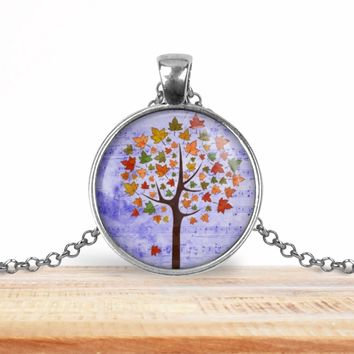 Tree pendant necklace, choice of silver or bronze, key ring option