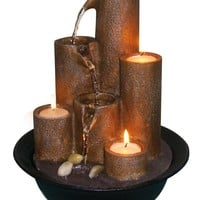 Tabletop Fountain with Three Candles by Alpine Corp