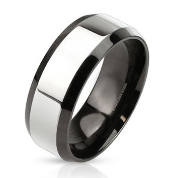 Upscale – Glossy two tone black IP and silver stainless steel beveled edge men's ring