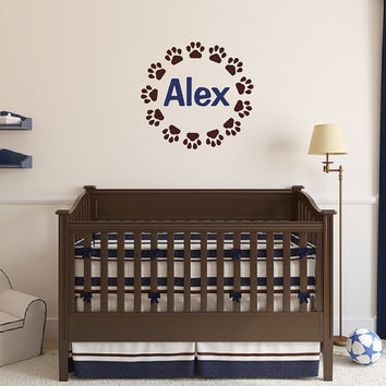 Nursery Baby Boy Name Puppy Paw Print Vinyl Wall Decal - Paw Print Frame Decal - Personalized Room Decor - Nursery Wall Decor 22545