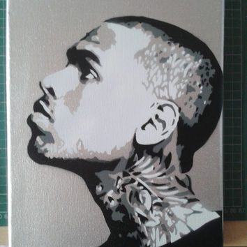 Chris Brown Silver painting,stencils,spray paints on canvas,music,fan art,pop art,urban art,tattoo,chrome,r&b,hand made,hip hop,soul,usa