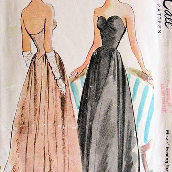 McCall's 6733 Sewing Pattern 1940s Debutante Ball Gown Formal Dress Fitted Bodice Sweetheart Neckline Hollywood Glamour Bust 32