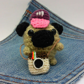 Amigurumi Pug, crochet Pug photographer plus tiny instagram camera and cap. Say Cheese. Pug plushie,crochet Pug. Instagram Dog