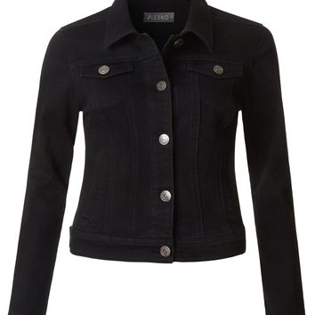 LE3NO Womens Classic Washed Long Sleeve Distressed Black Denim Jacket