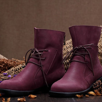 3 Colors Women'S Handmade Leather Martin Boots,New Winter Boots /Leather Shoes / Geniune Leather Boots, Purple/Brown/Black