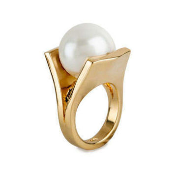 New Arrival Gift Shiny Stylish Jewelry Fashion Accessory Ladies Gold Pearls Ring [4956919300]