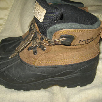 vtg Genuine DUCK BOOTS brown Suede & Rubber All Weather Boots