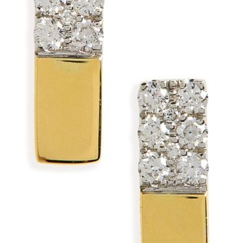 Bony Levy Kiera Diamond & 18K Gold Bar Stud Earrings | Nordstrom