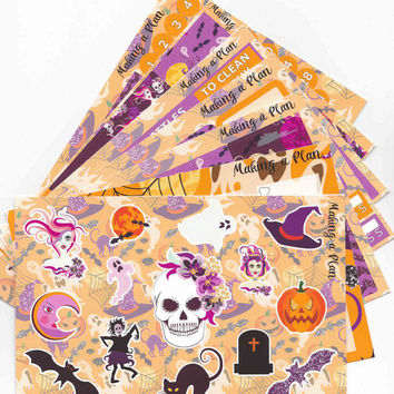 Trick or Treat Weekly  Vertical Kit Planner Stickers for use with ERIN CONDREN LIFEPLANNER