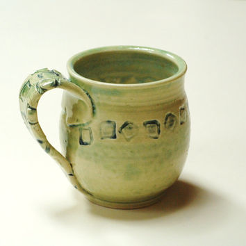 Green pottery mug,Geometric clay mug,moss mug cup,stoneware clay mug,green coffee mug,wheel thrown mug,square design mug,large coffee cup,