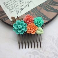 Green Chrysanthemum, Coral, Orange Flowers Bouquet, Leaf Collage Hair Comb. Bridesmaid Gifts. Orange Green Coral Wedding. Bridal Wedding