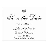 Black and White Wedding Save the Date Postcard