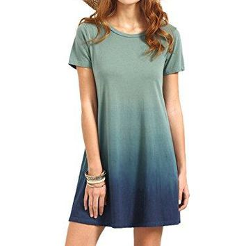 Tie Dye Ombre Dress ROMWE Women's Tunic Swing T-Shirt Dress Short Sleeve