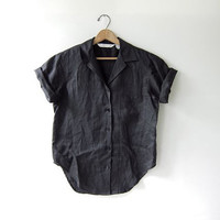 vintage black linen top. button up short sleeve shirt. minimalist shirt