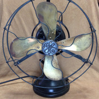Antique 3 Speed GE Brass Tilting Oscillating Electric Fan 75423 Type AOU Form V2