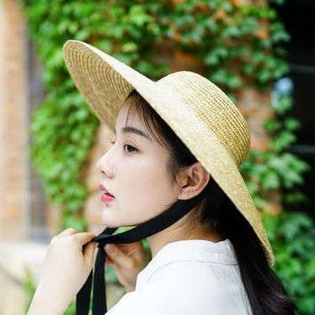 Wide Brim Sun Hat for Women 2018 Summer Beach Straw Hats for Ladies Vintage Bucket Hats with Ribbon Ties 681025
