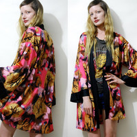 70s Vintage KIMONO Robe Colourful Abstract Tree Print Lightweight Jacket Boho Hippie Bohemian 1970s vtg S M L